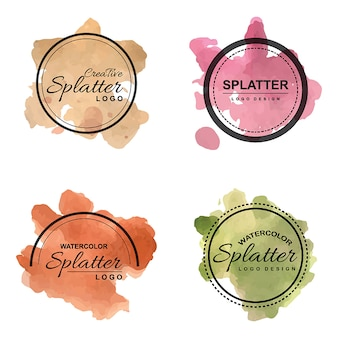 Handdrawn watercolor splatter logo's