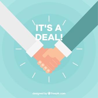 Handdruk deal achtergrond in vlakke stijl