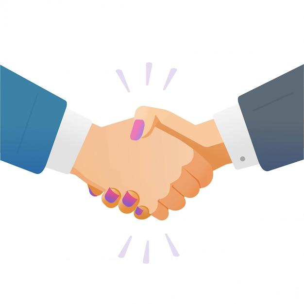 Handdruk handdruk zakenvrouw en man vrienden of zakenvrouw handen schudden