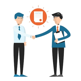 Handdruk, teken van overeenkomst tussen twee zakenlieden. teken een contract