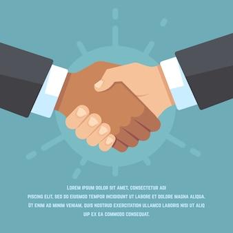 Handdruk van europese en afrikaanse amerikaanse zakenpartners. respect, vriendschap, overeenkomst en big deal vector platte concept