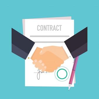 Handdruk van mensen uit het bedrijfsleven over het contract.