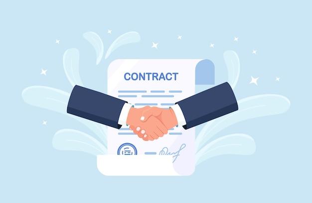 Handdruk van twee zakenlieden. overeenkomst van partijen. mensen die stevig de hand schudden na het ondertekenen van documenten. succesvol partnerschap, samenwerking, investering