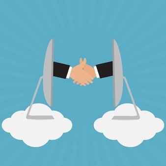 Handdruk van zakenman voor de overeenkomst van de vennootschapgroet