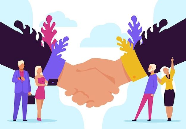 Handdrukconcept. cartoon zakelijk partnerschap en overeenkomst, succesvolle ontmoeting en samenwerking. vector handen schudden illustratie samenwerking relatie zakenmensen