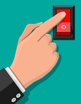 Handdrukknopschakelaar. elektrische bediening. klassieke rode elektrische schakelaar. vierkante vermogensschakelaar.