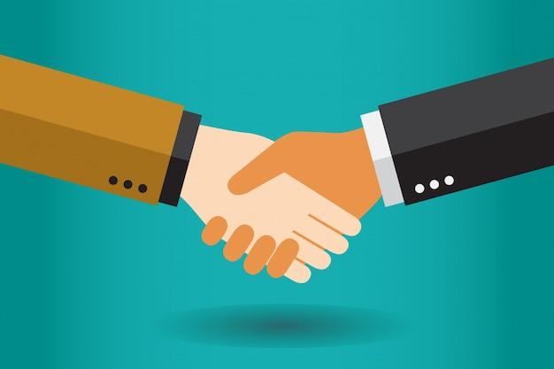 Handdrukzakenlieden die een overeenkomst maken