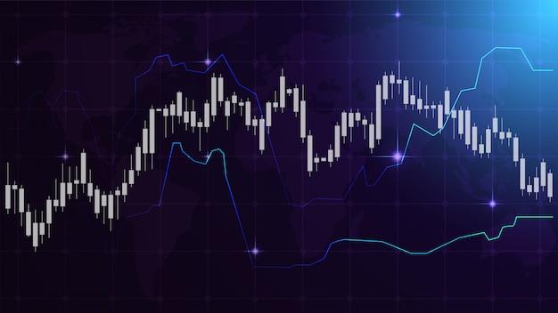 Handel achtergrond met transparante witte kaars op en neer grafieken op donkerblauw