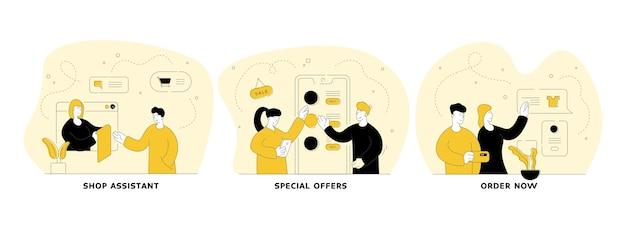 Handel en handel in internet vlakke lineaire afbeelding instellen. winkelbediende, speciale aanbiedingen, bestel nu. gebruiksvriendelijke mobiele applicatie voor online winkelen. mensen stripfiguren