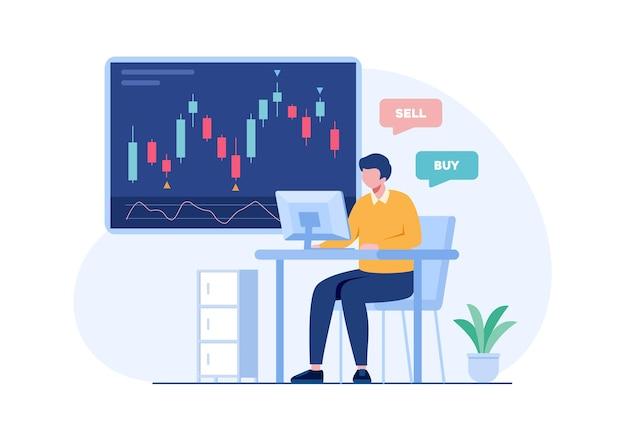 Handel in aandelen en forex kandelaar concept platte vectorillustratie voor banner premium vector Premium Vector