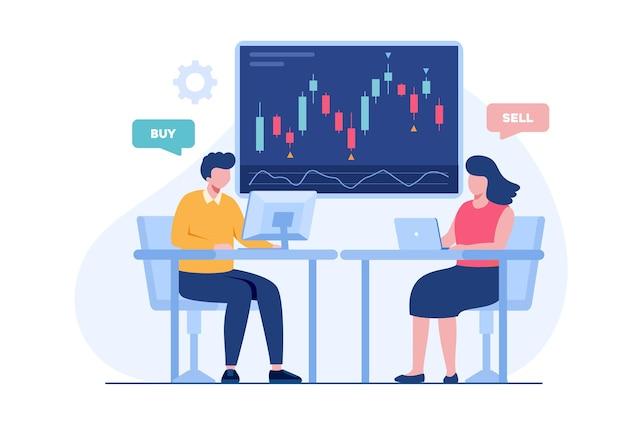 Handel in aandelen en forex kandelaar concept platte vectorillustratie voor banner premium vector