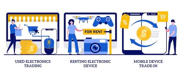 Handel in gebruikte elektronica, verhuur van elektronische apparaten, inruilconcept voor mobiele apparaten met kleine mensen. elektronica handel markt vector illustratie set. oude draagbare gadgets verkopen en kopen metafoor.