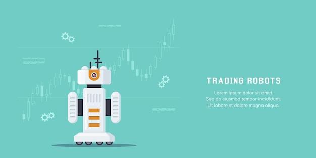 Handel in robots concept banner. aandelenmarkt, forex en cryptocurrency-handel