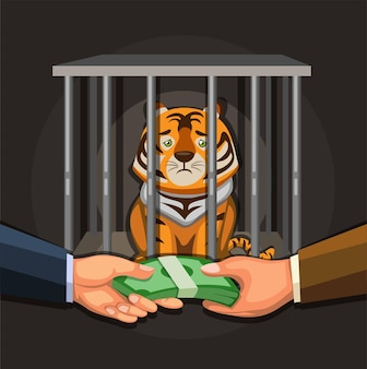 Handel in wilde dieren, illegale zakenmensen die het concept van de tijgerillustratie in beeldverhaalvector verkopen