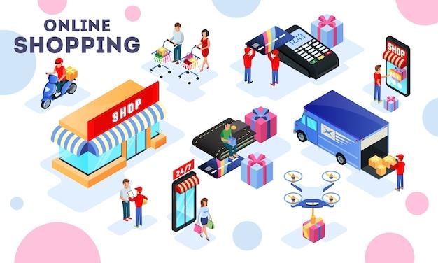 Handel, koopwaarproces belicht verkoop, distributie, transport, levering, winkelen, betaling.