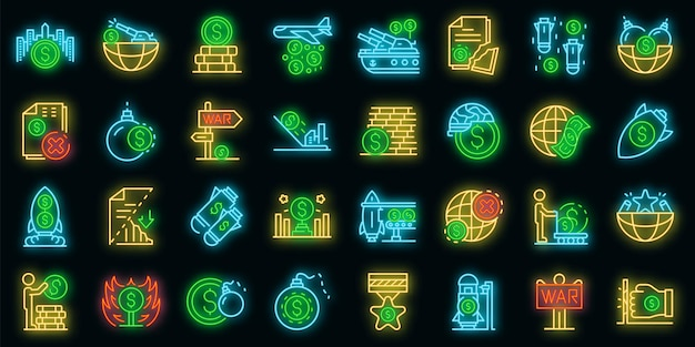 Handel oorlog pictogrammen instellen. overzicht set van handelsoorlog vector iconen neon kleur op zwart