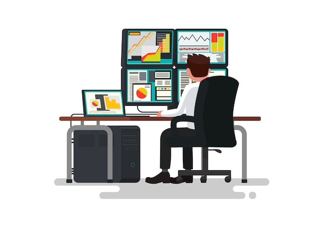 Handelaar bij een bureauillustratie