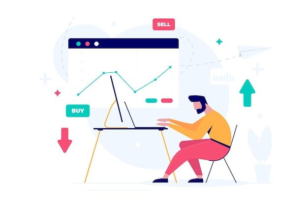 Handelaar illustratie concept werken