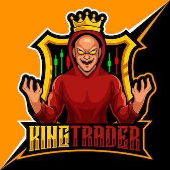 Handelaar koning, mascot esports logo vectorillustratie