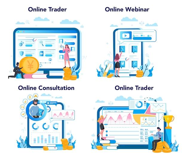 Handelaar, online dienst voor financiële investeringen of platformset. koop of verkoop winst, handelaarstrategie. idee van geldstijging en financieringsgroei. webinar, consultatie en website.