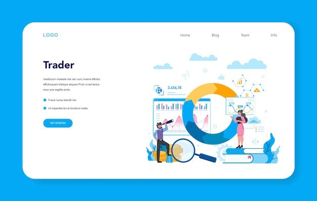 Handelaar, webbanner voor financiële investeringen of bestemmingspagina