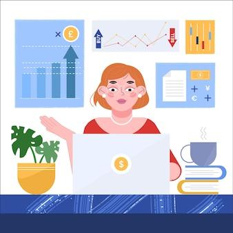 Handelaarsvrouw die bij haar bureau werken