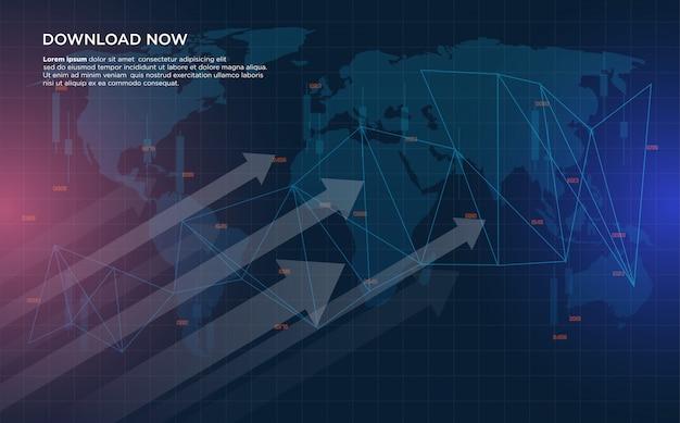 Handelsachtergrond met illustraties van grafieken voor aandelenhandel die steeds meer van links naar rechts stijgen.