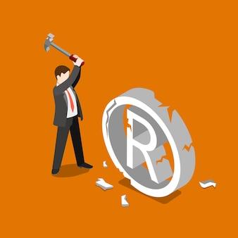 Handelsmerk schending van auteursrechtschending vallen mislukken rem plat isometrisch