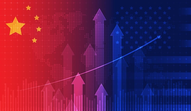 Handelsoorlog economie vs amerika en china vlag kandelaar grafiek beursbeurs en grafiek grafiek