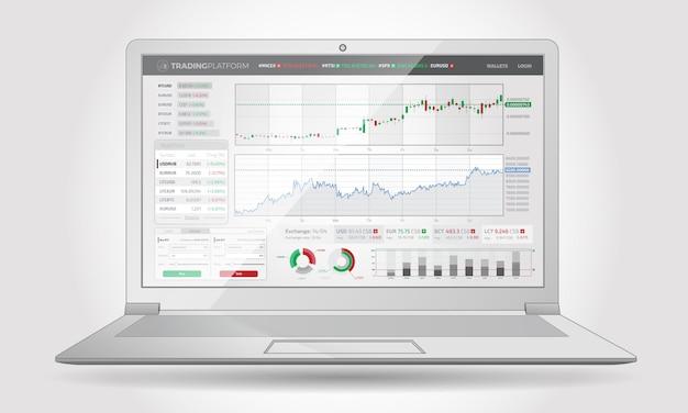 Handelsplatforminterface met infographic elementen