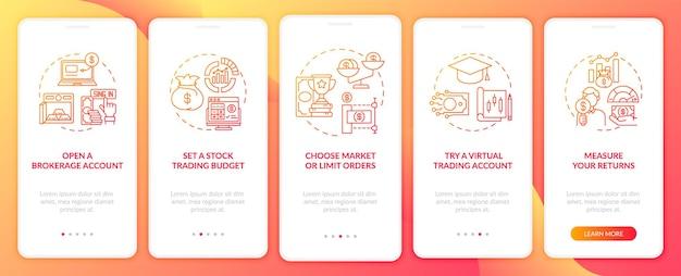 Handelsstappen aan boord van het paginascherm van de mobiele app met concepten