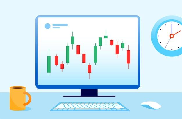 Handelsvoorraad en forex kandelaar concept platte vectorillustratie voor banner
