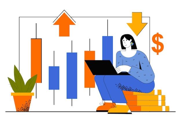 Handelswebconcept. vrouw maakt succestransacties met financiële instrumenten op de aandelenmarkt, analysegegevensgrafiek, maakt winst.