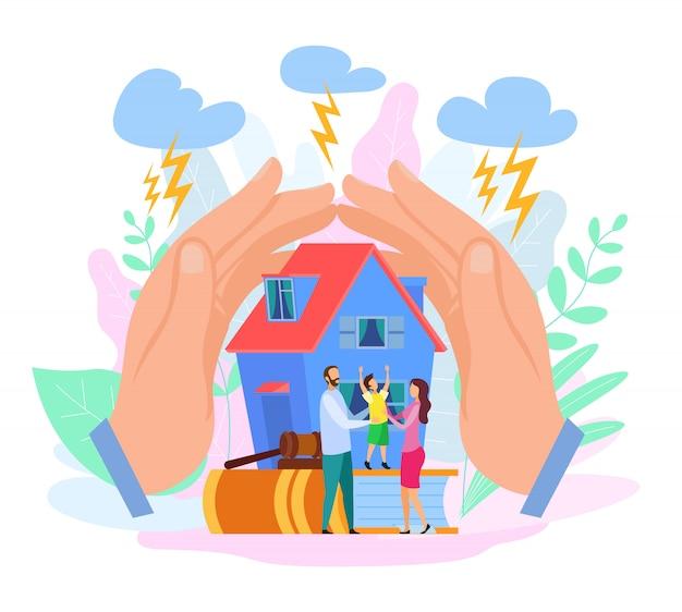 Handen beschermen huis en mensen