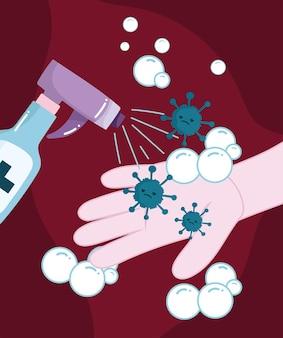 Handen desinfecteren met spray