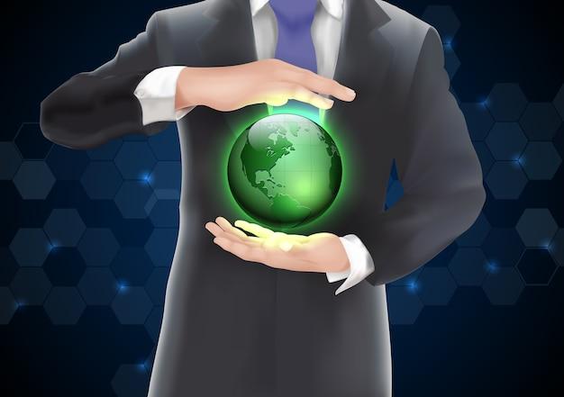 Handen die aarde met groen van achtergrond op blauw en zwart houden