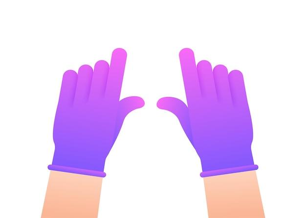 Handen die beschermende knijphandschoenen aantrekken. latex handschoenen. vector stock illustratie