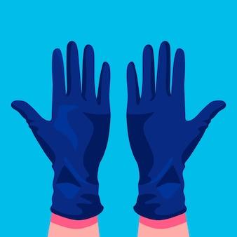Handen die beschermende medische handschoenen dragen