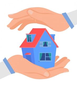 Handen die cottage flat beschermen
