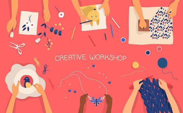 Handen die decoratief handwerk maken - tekenen, stempelen, borduren, breien, weven, scrapbooking