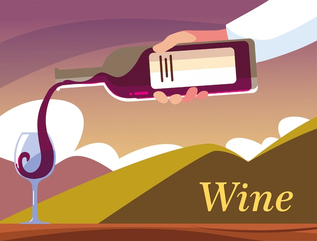 Handen die een fles en een glas wijn houden