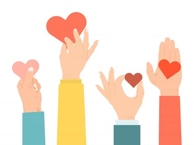 Handen die een hartenillustratie houden. vele handen houden harten om liefde aan mensenconcept te geven en te delen. liefdadigheid, filantropie, medeleven en zorgsymbool