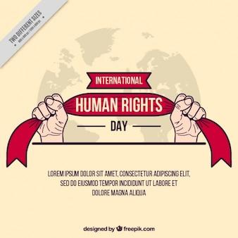 Handen die een lint, dag van de mensenrechten