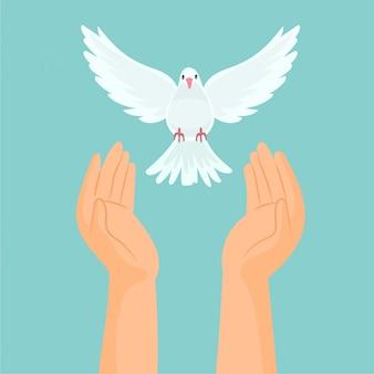 Handen die een witte duif vrijgeven