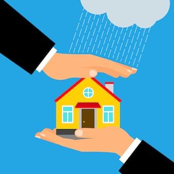 Handen die en woningbouw houden behandelen
