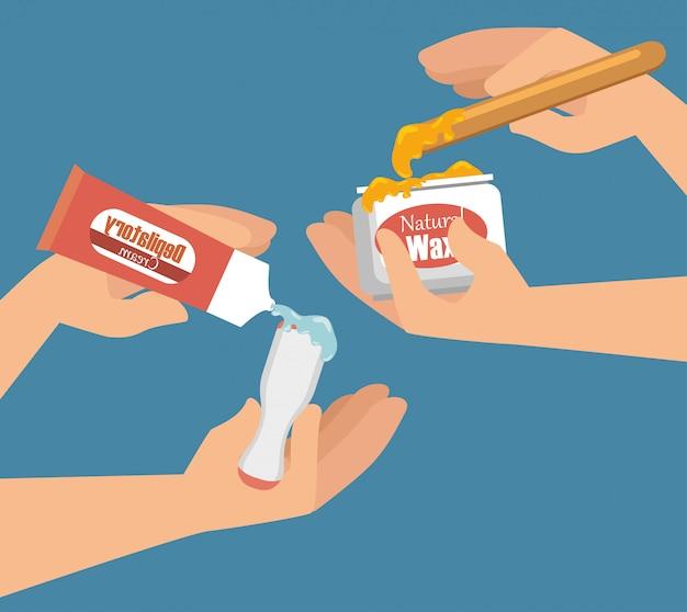 Handen die haarverwijderingsproduct gebruiken