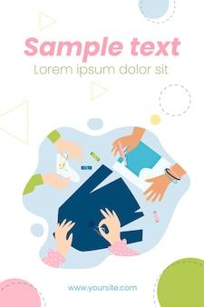 Handen die kleding herstellen en naaien met naaldillustratie