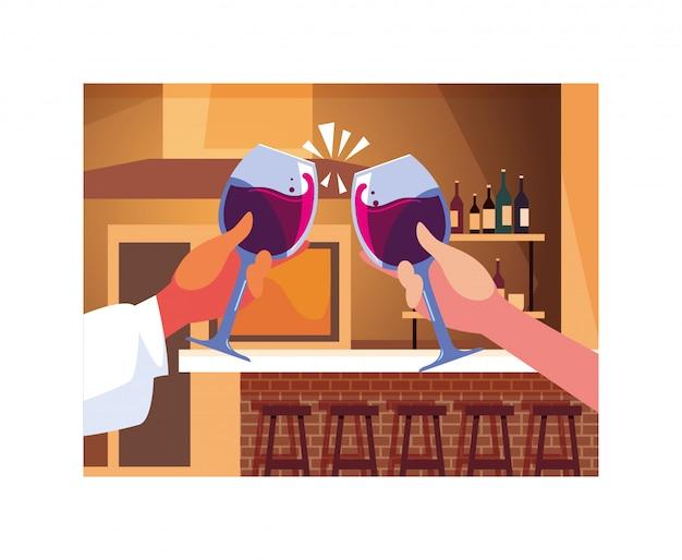 Handen die wijnglazen houden, de dag van de etiketwijn