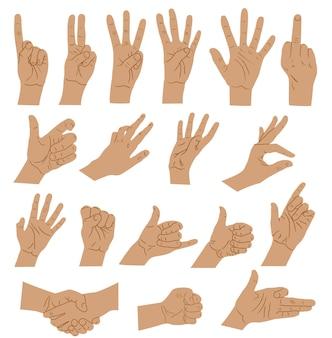Handen en armen uitdrukkingen handen ondertekenen grote set