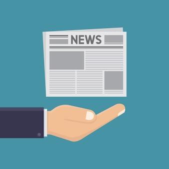 Handen en kranten illustratie platte ontwerpstijl